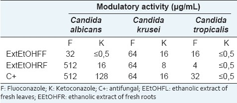 Table 2: Minimal inhibitory concentration of antifungal alone or associated to C. cajan extracts against Candida species