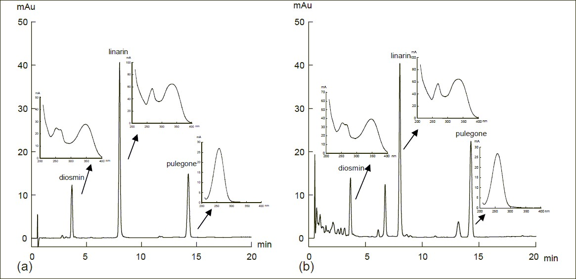 Figure 2: A typical rapid resolution liquid chromatography chromatogram and UV spectra of Z clinopodioides Lam. (a) Standard chromatogram; (b) sample chromatogram