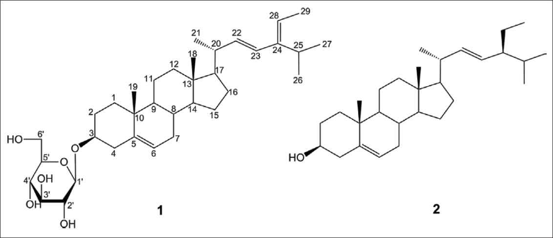 Figure 1: The structures of sterols ( <b>1</b> and <b>2</b> ) isolated from seeds of <i>P. ginseng</i>