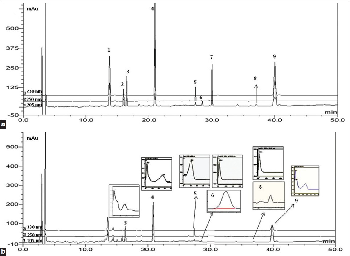 Figure 2: HPLC-DAD chromatograms of 9 standard compounds in BZYQT preparation and UV spectrum. (a) Mixed standards and (b) BZYQT preparation sample at 205, 250 and 330 nm. (1) ferulic acid, (2) naringin, (3) hesperidin, (4) decursinol, (5) glycyrrhizin, (6) saikosaponin A, (7) 6-gingerol, (8) ginsenoside Rg3, and (9) decursin