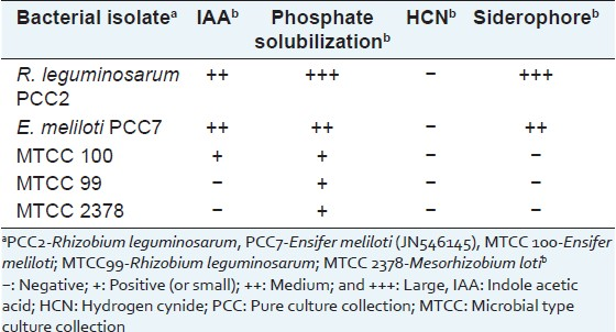 Table 1: Plant growth promoting properties of rhizobia isolated from the roots of Psoralea corylifolia