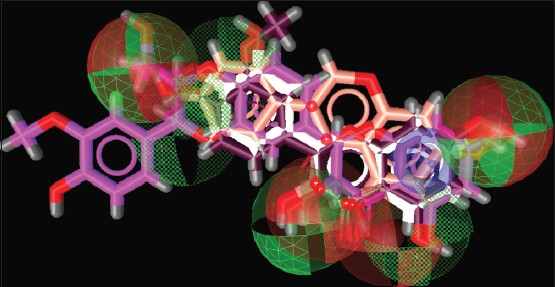 Figure 6: Common feature pharmacophore. Features are color-coded with red, hydrogen bond acceptors; green, hydrogen bond donors; blue, aromatic ring. Molecules are color-coded with purple, isorhamnetin; white, fisetin; peach, genistein; magenta, silibinin