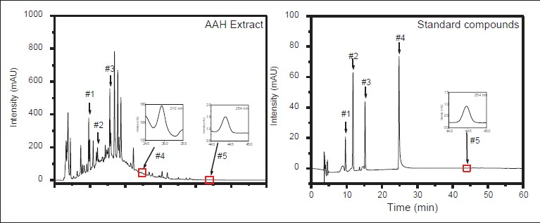 Figure 6: Analysis of five representative compounds in <i>Artemisiae annuae</i> herba with RP-high-performance liquid chromatography