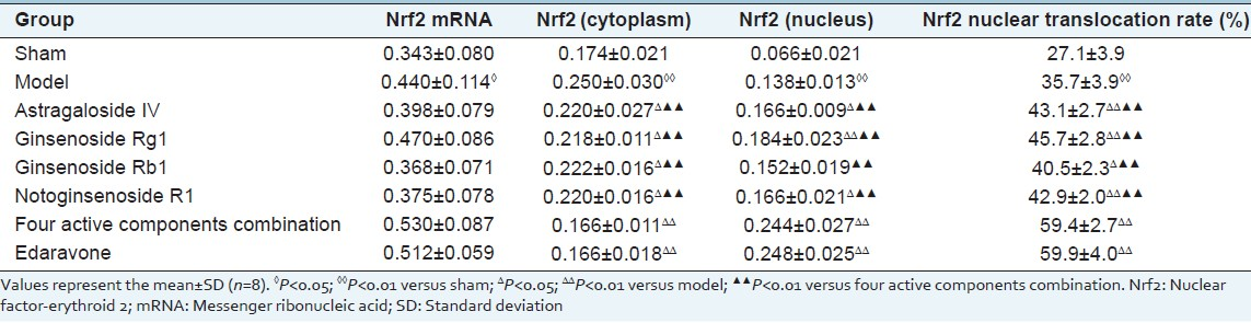Table 2: Comparison of Nrf2 mRNA, protein expression and Nrf2 nuclear translocation rate among the groups in the brain tissues
