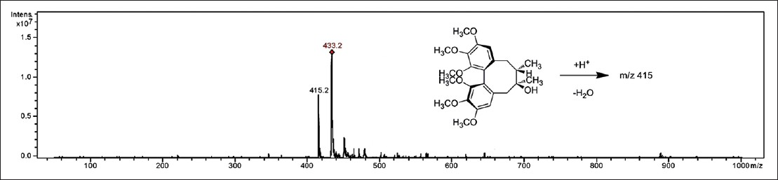 Figure 3: Chemical structure and electrospray ionization-mass spectrometry spectra of schisandrol A