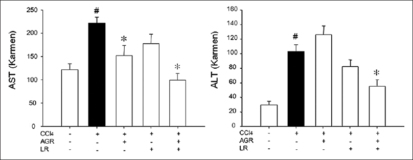 Figure 2: Effects of herbal medicines on serum aspartate aminotransaminase and alanine aminotransaminase activities in rats treated with carbon tetrachloride (CCl<sub>4</sub>). Rats were orally administered with Angelicae gigantis radix (AGR), AGR + Lithospermi radix (LR), and LR for five consecutive days, respectively, and then blood samples were obtained. Data are mean ± standard error of seven experiments. #<i>P</i> < 0.05 when compared to normal rats; *<i>P</i> < 0.05 when compared to CCl<sub>4</sub> group