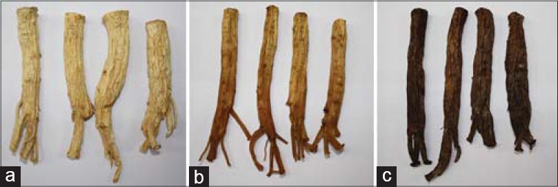 Figure 1: Ginseng products prepared by different preparation methods. Dried ginseng (a), red ginseng (RG) (b), and high-temperature and high-pressure-RG (c)