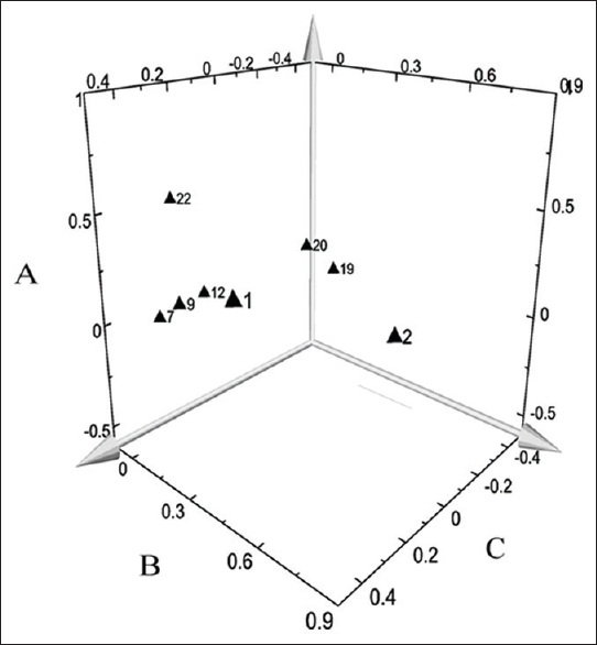 Figure 4: Loading scatter three-dimensional plot of eight variables on three principal components. (a) Component1; (b) component2; (c) component3. (1) gallic acid; (2) 5-hydroxymethylfurfural; (7) catechin; (9) oxypaeoniflorin; (12) paeoniflorin; (19) quercetin; (20) benzoylpaeoniflorin; (22) paeonol
