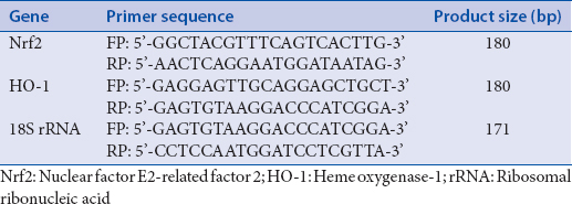 Table 1: Primer sequences and product sizes of nuclear factor E2-related factor 2, heme oxygenase-1 and 18S ribosomal ribonucleic acid