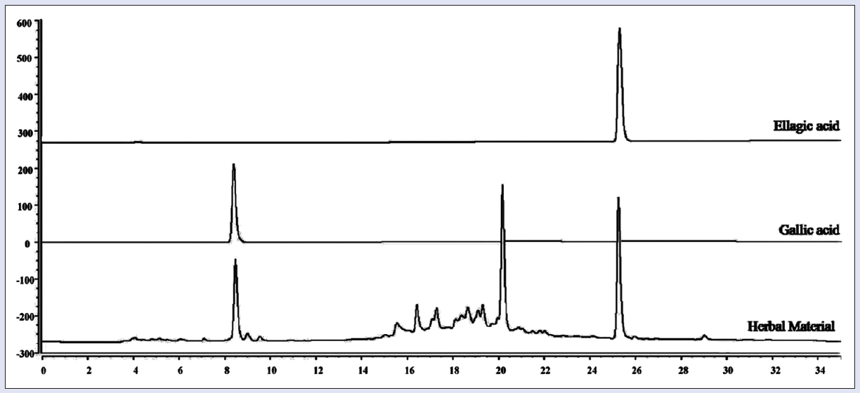 Figure 3: Chromatogram obtained for herbal material and standards (ellagic acid and gallic acid)