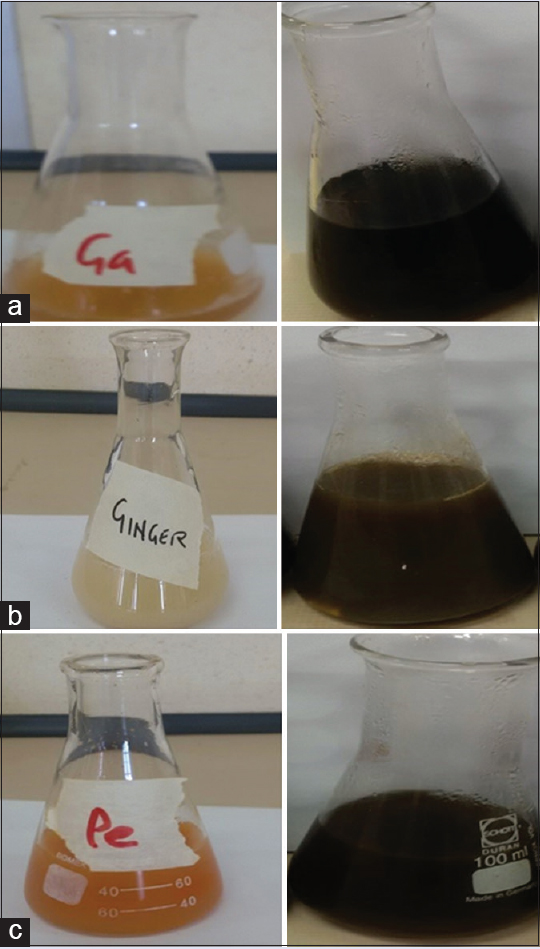 Figure 1: Spice extracts before and after reaction with silver nitrate. (a) <i>Allium sativum</i> (garlic), (b) <i>Zingiber officinale</i> (ginger), and (c) <i>Capsicum frutescens</i> (cayenne pepper)