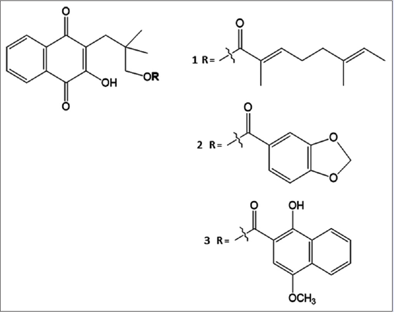 Figure 1: Chemical structures of rhinacanthin-C (1), rhinacanthin-D, (2) and rhinacanthin-N (3)