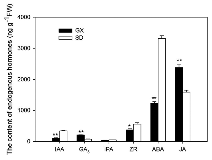 Figure 5: Endogenous hormone contents of <i>Lonicera japonica</i> flower buds. IAA: Indole-3-acetic acid; GA<sub>3</sub>: Gibberellins; iPA: Isopentenyladenine; ZR: Zeatin riboside; ABA: Abscisic acid; and JA: Jasmonic acid. GX: Leye County in Guangxi Zhuang Autonomous Region; SD: Pingyi County in Shandong Province. * indicates a significant difference at <i>P</i> < 0.05 level, and ** indicates an extremely significant difference at <i>P</i> < 0.01 level