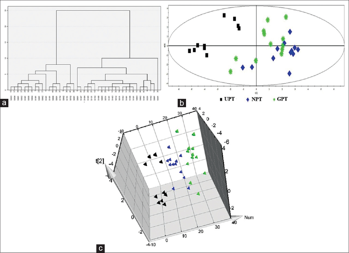 Figure 3: Results of multi-dimensional analysis of 43 Pollen Typhae samples. (a): Dendrograms of hierarchical cluster analysis of 43 samples; (b) principal component analysis of Unqualified Pollen Typhae, Grass Pollen Typhae and Net Pollen Typhae; (c) three dimensional-principal component analysis figure Unqualified Pollen Typhae, Grass Pollen Typhae, and Net Pollen Typhae