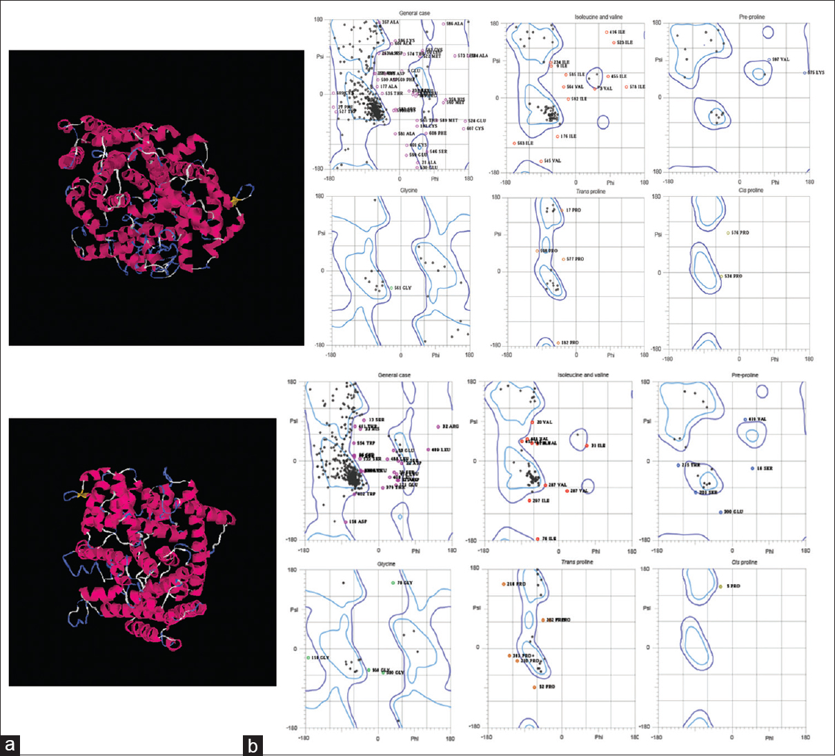 Figure 5: Homology modeling and evaluation of tertiary structure: Prediction of tertiary structure of the modeled (a) β-Caryophyllene synthase and (b) E-β-Farnesene synthase generated by the I-TASSER server. The different domains of the protein are color coded